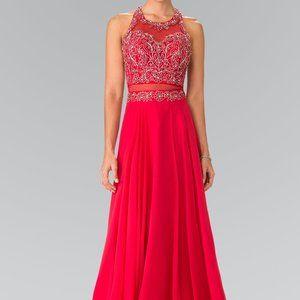 Crew Neck Sleeveless Lace Prom Dress GSGL2347